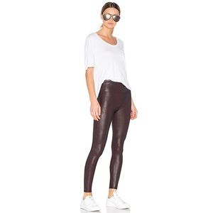 Spanx Womens Faux Leather Leggings in Wine